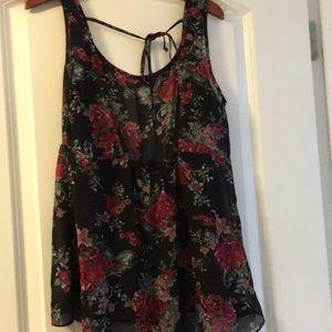 Full Tilt Tops - Sheer floral tie back tank top size Small